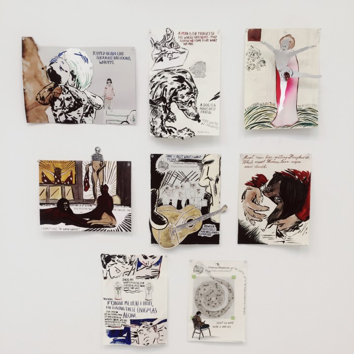 Marcel Dzama and Raymond Pettibon's Forgetting the Hand at David Zwirner Gallery